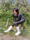 Fetish pictures in rubber boots and leather outfit!